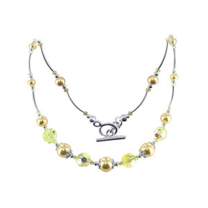 Sterling Silver Golden Pearl Necklace with Swarovski Crystal