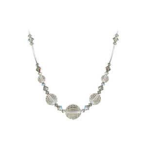 925 Sterling Silver Multifaceted Silver Shade Crystal Necklace Made with Swarovski Elements