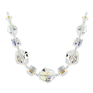 925 Sterling Silver 14mm Geometric Clear AB Crystal Necklace Made with Swarovski Elements