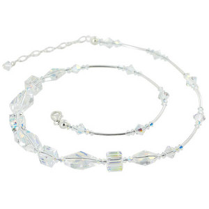 925 Silver 14mm Geometric Clear AB Crystal Necklace