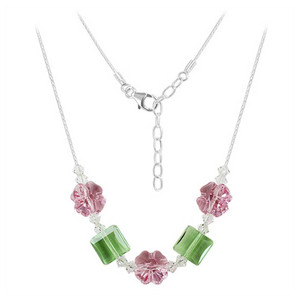 925 Sterling Silver Light Rose and Peridot Color Crystal Necklace 16 inch Made with Swarovski Elements