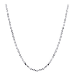 Men's Italian 925 Silver Faceted Cut Rope Chain Necklace