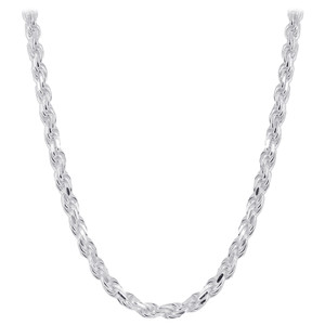 Men's Italian 925 Silver Diamond-cut Rope Chain Necklace