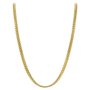 Men's Gold Plated 925 Silver 3mm Curb/Cuban Chain Necklace