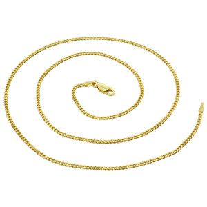 Gold Plated Vermeil 2mm Curb/Cuban Chain Necklace