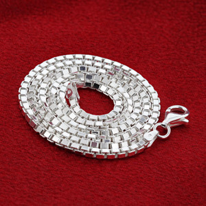 Men's Italian 925 Silver 2.5mm Box Link Chain Necklace
