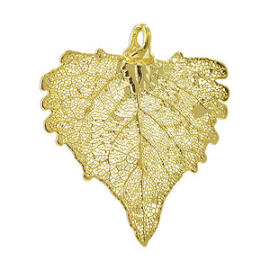 24k Yellow Gold Plated over Real Cottonwood Leaf Pendant
