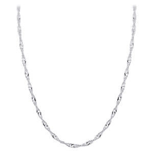 Mens Italian 925 Silver Winding 3mm Singapore Chain Necklace
