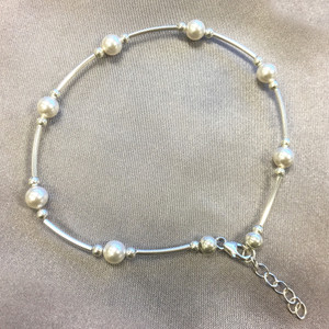 925 Sterling Silver White Pearl Ankle