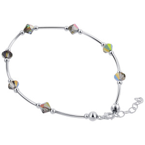 Sterling Silver Swarovski Elements Black AB Bicone Crystal Ankle Bracelet 9 to 10 inch Adjustable