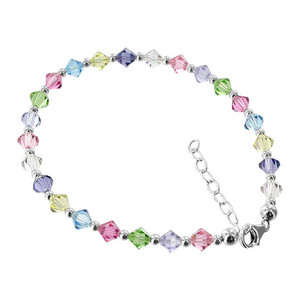 Silver Multicolor Crystal Anklet