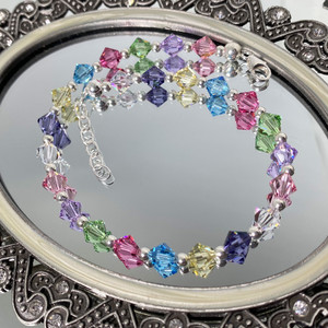 925 Silver Swarovski Elements Multicolor Crystal Anklet 10 inch Adjustable