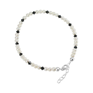 925 Silver Freshwater Pearl & Crystal Ankle