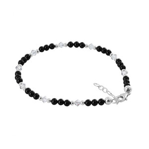 Silver Crystal Onyx Beads Anklet