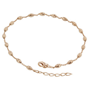 925 Sterling Silver Rose Gold Plated Faceted Cut Beads Adjustable Vermeil Ankle Bracelet