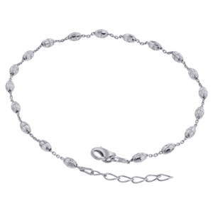 925 Sterling Silver link with 3mm Faceted Beads Anklet 9 to 10 inch