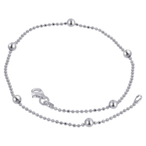 925 Sterling Silver 1mm Chain with 5mm Ball Anklet 10 Inch