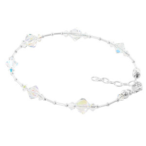 Clear AB Bicone Swarovski Crystal Ankle Bracelet 9 to 10.5 inch Adjustable