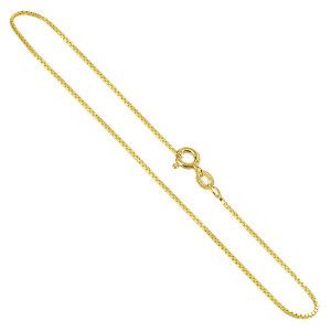 Vermeil Box 1mm Chain Ankle Bracelet