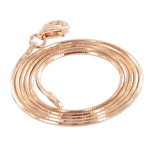 14k Rose Gold over Sterling Silver Vermeil Diamond-cut 1mm Snake Chain Ankle Bracelet