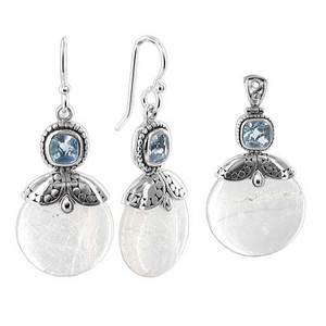 925 Sterling Silver Mother of Pearl Earrings Pendant Set