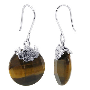 925 Sterling Silver Simulated Tiger Eye Earrings & Pendant Set #AFST017