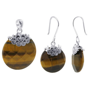 925 Sterling Silver Simulated Tiger Eye Earrings & Pendant Set