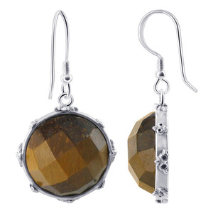 925 Sterling Silver Multi Faceted Tiger Eye Earrings Pendant Set #AFST029
