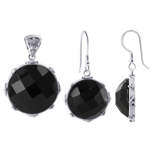 925 Sterling Silver Multi Faceted Black Onyx Earrings Pendant Set