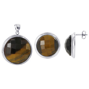 925 Sterling Silver Multi Faceted Tiger Eye Earrings Pendant Jewelry Set