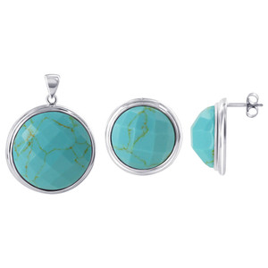 925 Sterling Silver Round-Cut Reconstituted Turquoise Pendant Earrings Set