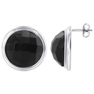 925 Sterling Silver Round-Cut Black Onyx Pendant Earrings Set #AFST035