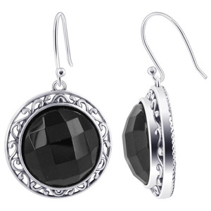 Black Onyx Pendant Earrings Set