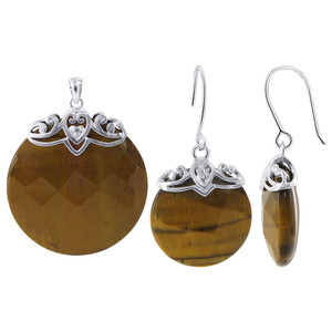 925 Sterling Silver Round Tiger Eye Earrings Pendant Set