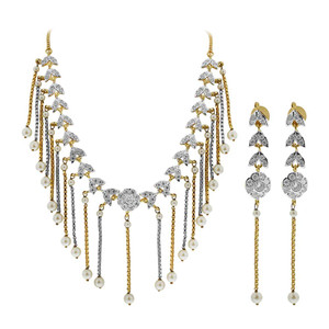 Gold Plated White Pearls and Glass Stones Earrings with Extra Link Chain 16 Inch Necklace Set