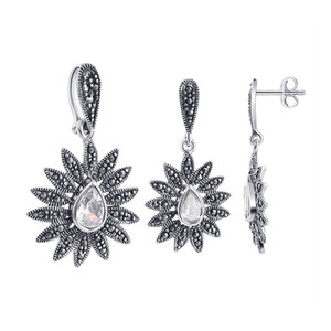 925 Sterling Silver Clear CZ and Marcasite Accents Post Back Stud Earrings and Pendant Jewelry Set
