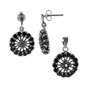 Sterling Silver Cubic Zirconia and Marcasite Earrings and Pendant Jewelry Set