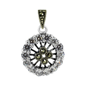 Sterling Silver Clear Cubic Zirconia and Marcasite Post Back Earrings and Pendant Jewelry Set