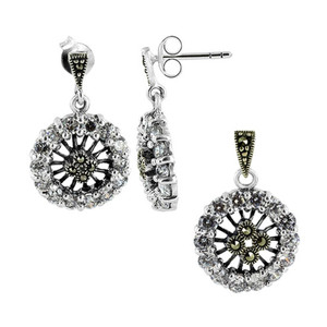 925 Sterling Silver Clear Cubic Zirconia and Marcasite Post Back Earrings and Pendant Jewelry Set
