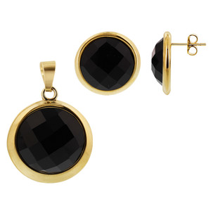 Stainless Steel Gold Tone Faceted Round Black Stone Earrings and Pendant Set