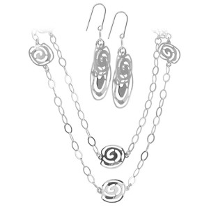 925 Sterling Silver Intricate Filigree Design Earrings 47 inch Chain Necklace Set