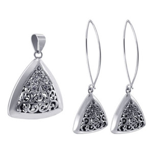 925 Sterling Silver Marcasite Floral Designed Dangle Earrings and Pendant Jewelry Set