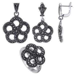 925 Sterling Silver Marcasite accented Round Floral Design Earrings Pendant & Rings Jewelry Set