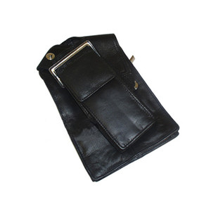 "Travel Cell Phone 4 Credit Cards Slots 2.5 x 5.75"" Leather Wallet Sholder Strap Purse Black In Color"