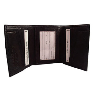 Mens Black Leather Cowhide TriFold 10 Credit Card Slots ID Holder 4 x 3.25 inch Wallet