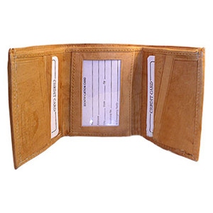 Mens Tan Leather Cowhide TriFold 10 Credit Card Slots ID Holder 4 x 3.25 inch Wallet