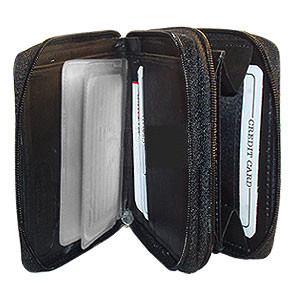 Black Leather Credit Card Holder 4.75 x 3.75 inch Wallet