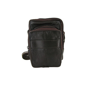 Brown Leather Camera Wallet with 2 Zipper Pocket and Long Strap