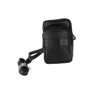 Black Leather Camera Wallet with 2 Zipper Pocket and Long Strap