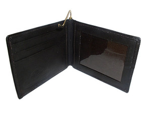 Lambskin Leather Credit Card Metal Clip Bifold Wallet Available in Black and Brown Colors